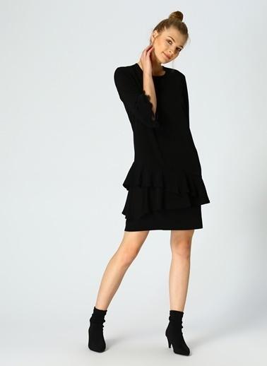 House Of Camellia Dantel Detaylı Volanlı Kısa Elbise Siyah